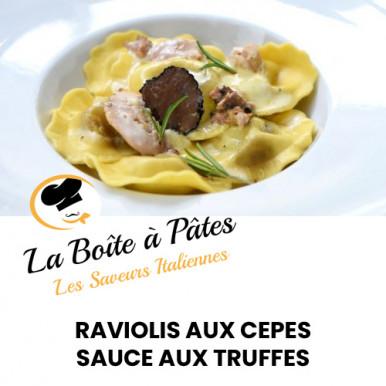 Raviolis aux cèpes sauce aux truffes