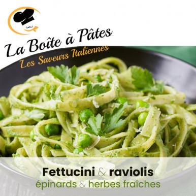 Fettucini épinards et raviolis herbes fraîches